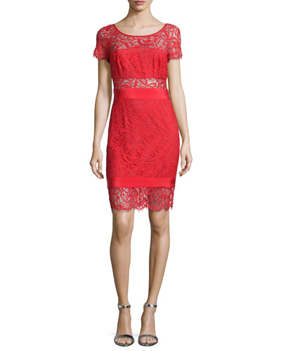 Short-Sleeve Lace Combo Dress