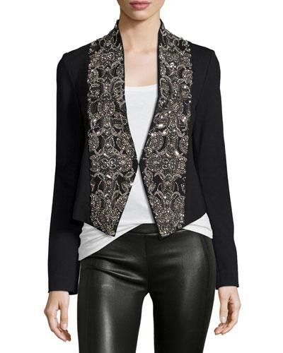 Embellished Ponte Cropped Jacket, Black