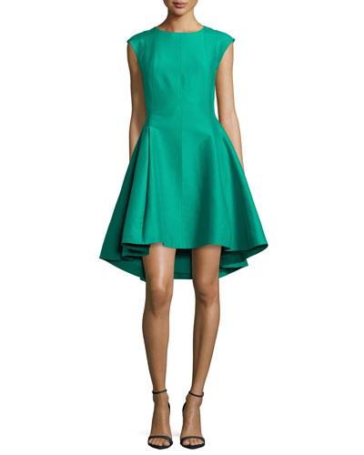 Cap-Sleeve Faille Ruffled High-Low Dress
