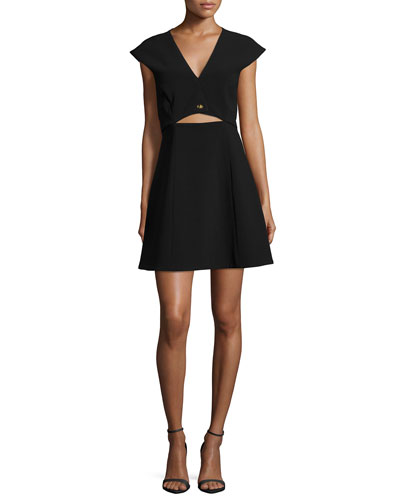 Cap-Sleeve Cropped-Top Dress W/ Turn-Lock