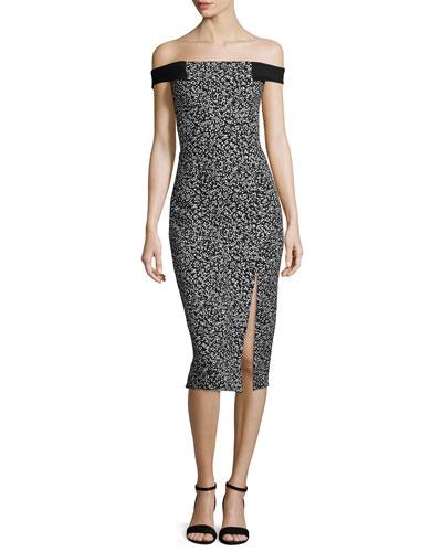 Off-The-Shoulder Sheath Dress, Static Print