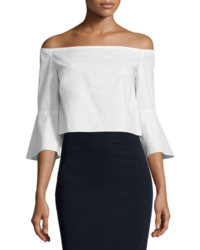 Off-The-Shoulder Crop Top, White