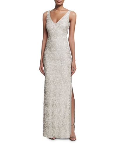 Sleeveless Sequined Gown W/ Side Slit
