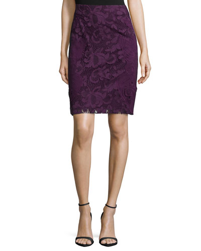 Lace Pencil Skirt, Mulberry