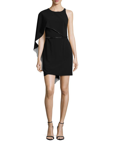 Flowy-Sleeve Belted Dress