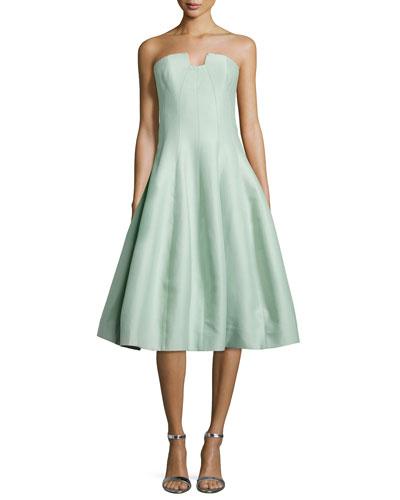 Strapless Geo-Notched Tulip Dress