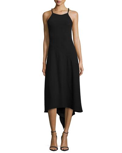 Chain-Strap Flowy-Back Dress