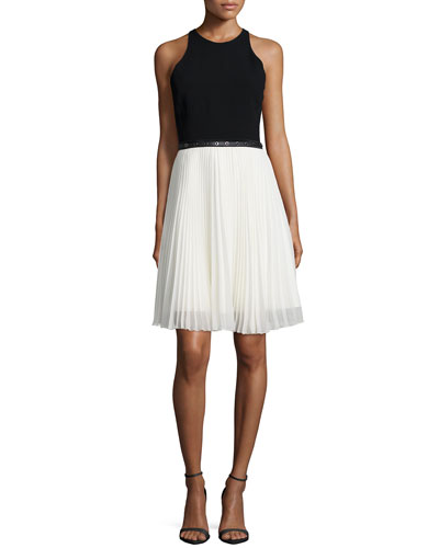 Sleeveless Belted Dress W/ Pleated Skirt