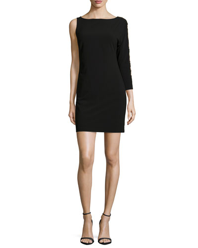 One-Shoulder Cocktail Dress, Black