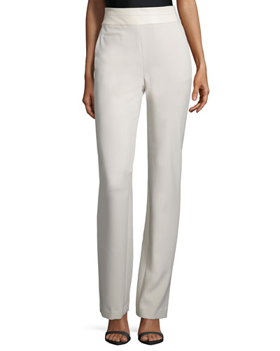 High-Waist Slim Boot-Cut Pants, Parchment