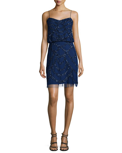 Spaghetti Strap Beaded Cocktail Dress, Navy
