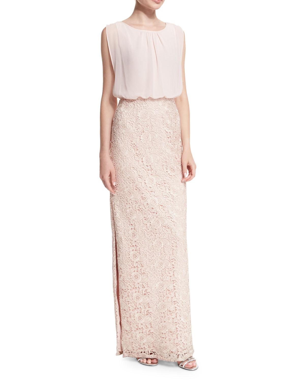 Chiffon-Top Lace-Skirt Gown, Petal