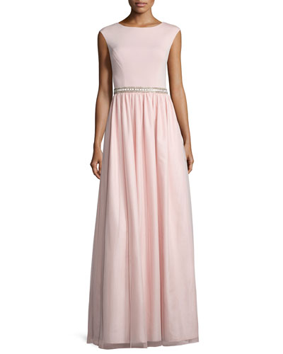 Cap-Sleeve Jersey Combo Gown