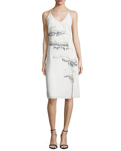 V-Neck Sleeveless Embroidered Dress