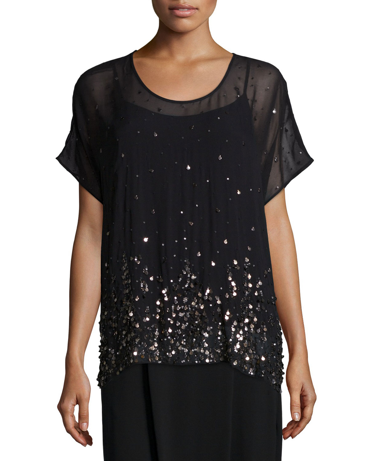 Short-Sleeve Dancing Sequined Top W/ Cami