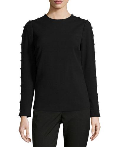 Jeweled-Sleeve Knit Top