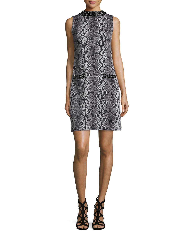 Sleeveless Snake-Print Jeweled Dress