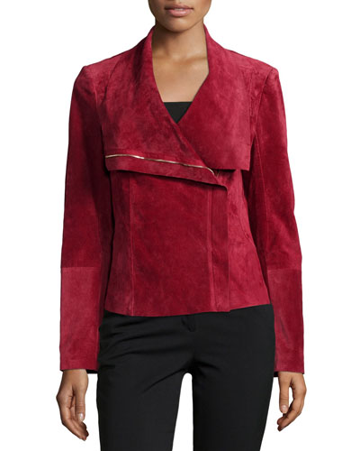 Suede Asymmetric Zip-Front Jacket