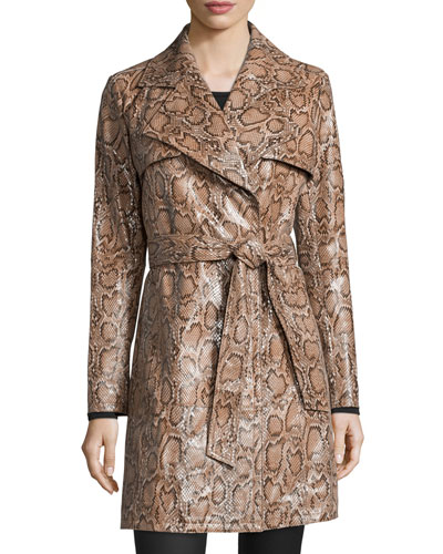 Snake-Print Leather Trenchcoat