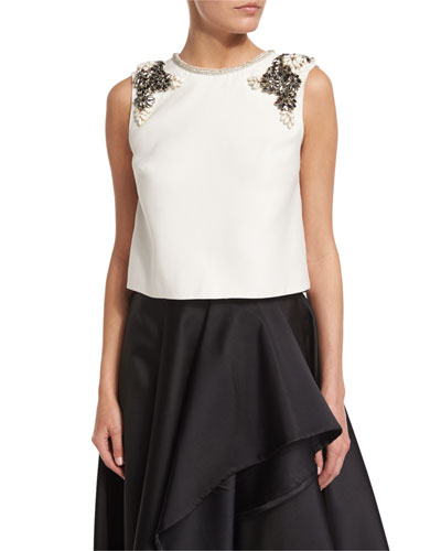 Jewel-Neck Embellished Shell, Silk White
