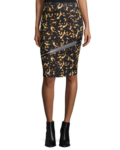 Printed Zip Contour Skirt, Black
