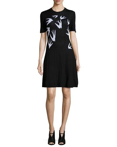 Swallow Jacquard Short-Sleeve Dress