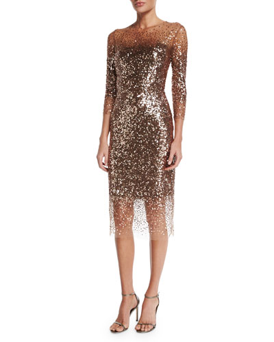 Sequined Ombre Illusion 3/4-Sleeve Dress, Bronze