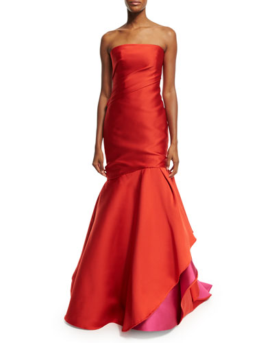 Strapless Colorblock Ball Gown, Fire/Magenta