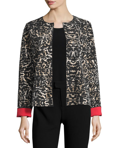 Leopard Open-Front Jacket W/Contrast Cuffs, Black/Multi