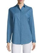 Sabira Button-Front Blouse, Celestial Blue
