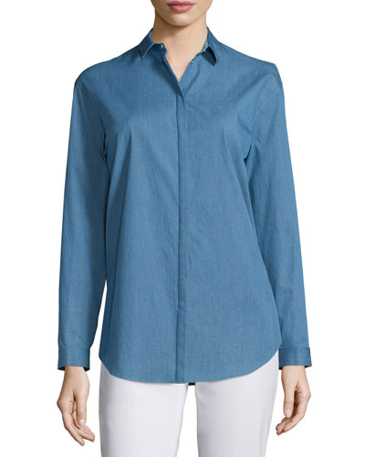 Sabira Button-Front Blouse, Celestial Blue