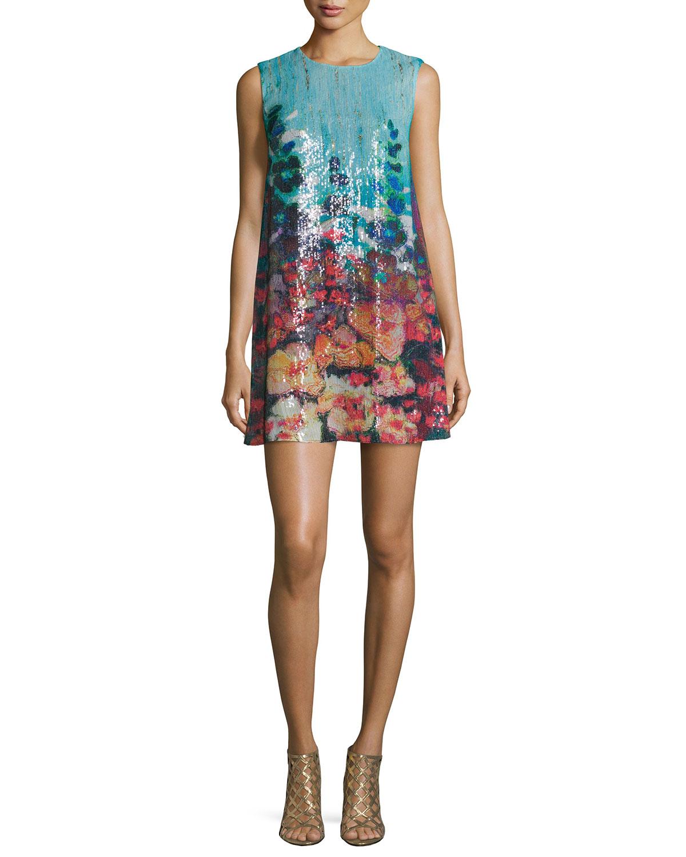Botanical Dreams Sleeveless Sequin Dress, Multicolor