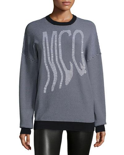 Graphic McQ Striped Jumper, White/Black