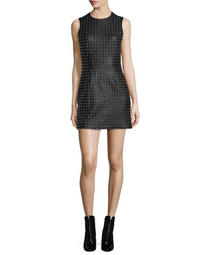 Studded Leather Mini Dress, Black