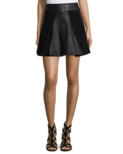 Leather & Suede Flare Skirt