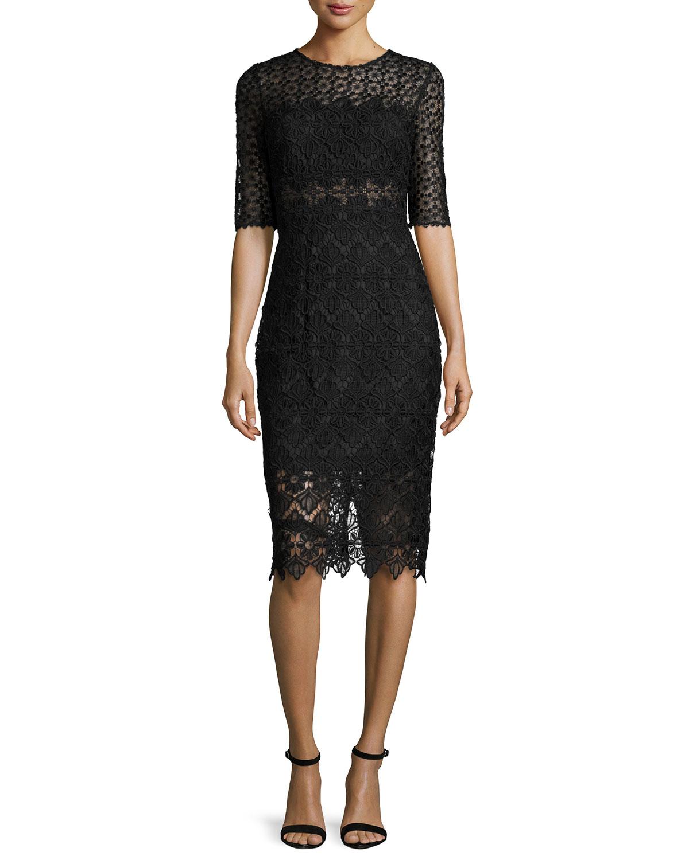 Half-Sleeve Mixed-Lace Sheath Cocktail Dress, Black