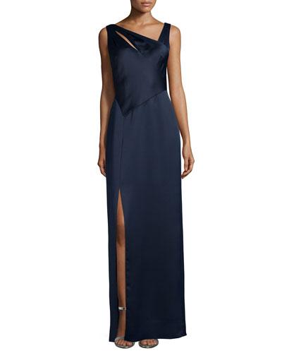 Sleeveless Asymmetric-Neck Column Gown