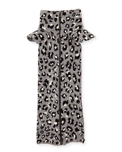 Leopard Print Knit Dickey, Heather Gray
