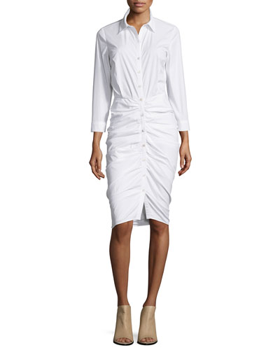 Ruched Button-Front Shirtdress, White