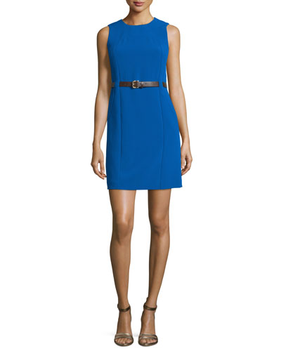 Sleeveless Belted Sheath Dress, Amalfi Blue