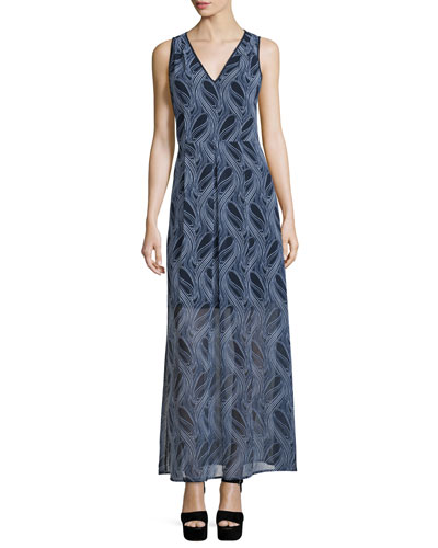 Burrel A-Line Maxi Dress, New Navy