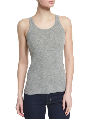 Scoop-Neck Sweater Tank, Pearl Heather