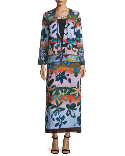 Long-Sleeve Riviera Sunrise Maxi Dress, Multicolor