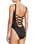 Super Low Lace-Back One-Piece Swimsuit, Black