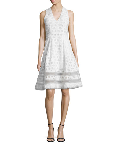 Sleeveless Twill Tea Dress, White
