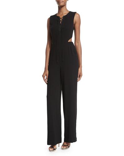 Sleeveless Angled Cutout Crepe Jumpsuit, Black