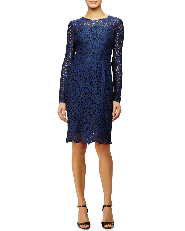 Bellamy Long-Sleeve Crochet Lace Dress