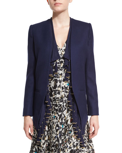 Blazer with Fringe Trim, Navy