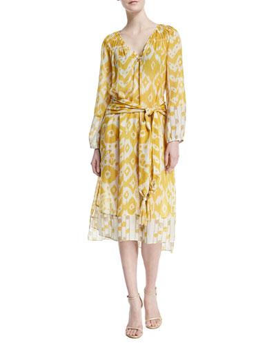 Printed V-Neck Maxi Dress, Goldenrod