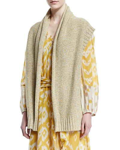 Cashmere-Blend Open-Front Vest, Yellow Marl